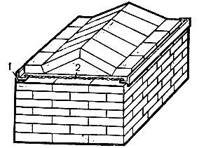 Рис. 28. Укрепление пят треугольного свода путем сжатия угловой или полосовой сталью со стягиванием проволочным жгутом: 1 - тавровая сталь; 2 - проволочный жгут