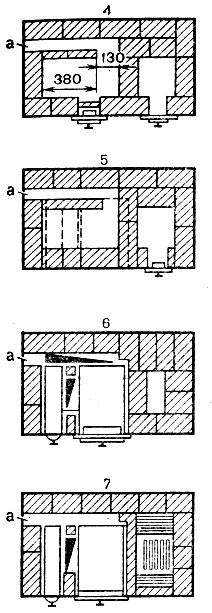 Рис. 53. Варианты отвода дымовых газов с торцевой стороны плиты: а - место присоединения плиты к щитку или дымоходу