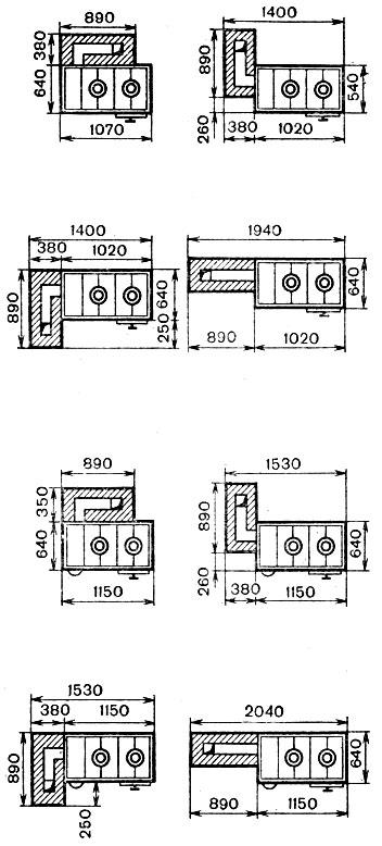 Рис. 54. Схемы присоединения плиты к отопительным щиткам