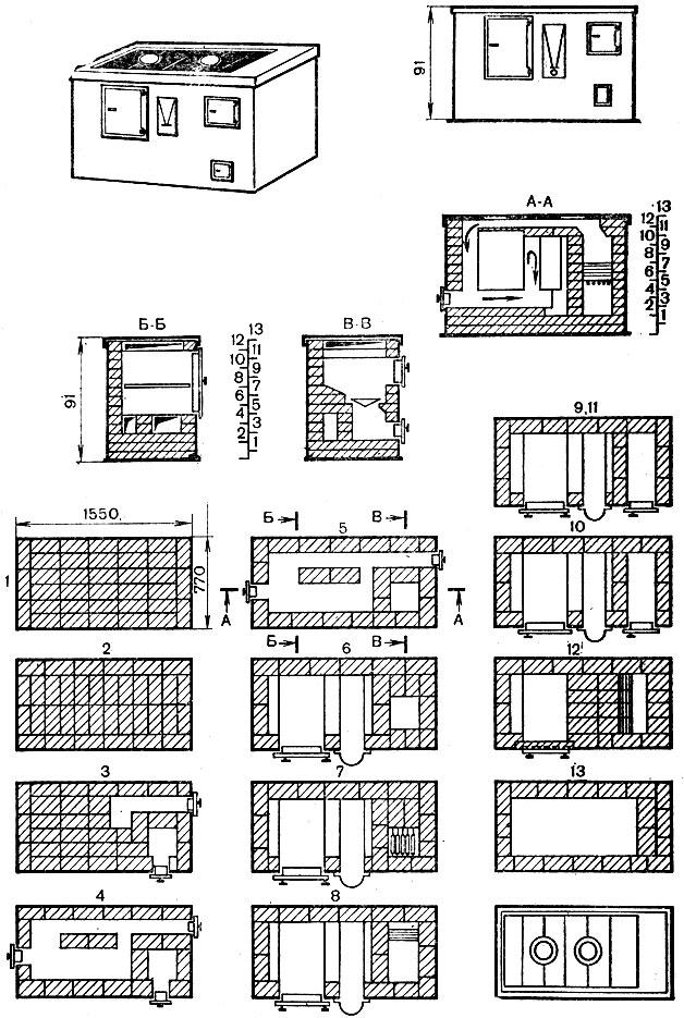 Рис. 55. Кухонная плита с духовкой и водогрейной коробкой производительностью 100 обедов в смену