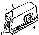 Рис. 83. Перекидной рукав: 1 - угловая сталь; 2 - кирпич; 3 - кровельная сталь; 4 - чистка