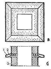 Рис. 92. Изготовление железобетонной выдры: а - выдра в плане; б - положение выдры на трубе; 1 - слезник; 2 - выдра; 3 - печная кладка
